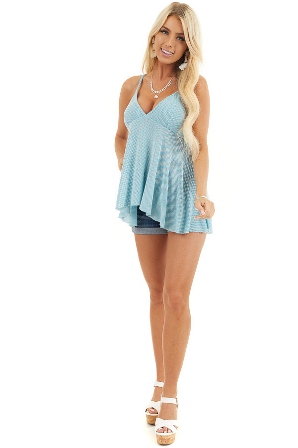 Turquoise Two Tone Sleeveless Top with Flared Bottom front full body