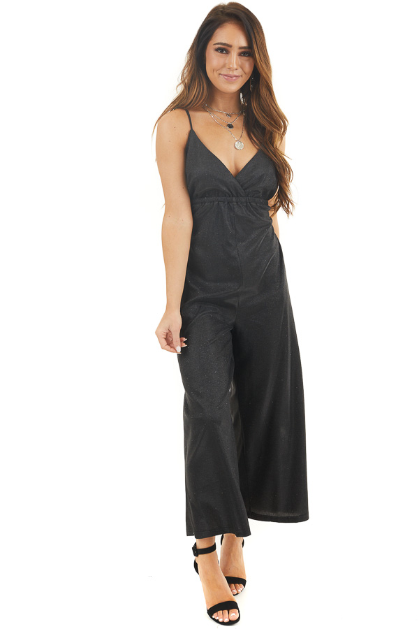 Black Glitter Spaghetti Strap Jumpsuit with Pockets front full body