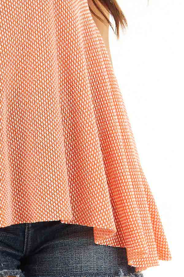 Bright Orange Two Tone Sleeveless Top with Flared Bottom detail