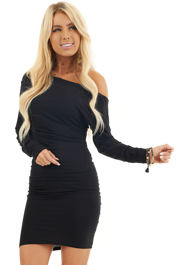 Black Drop Shoulder Long Sleeve Dress with Side Ruching front close up