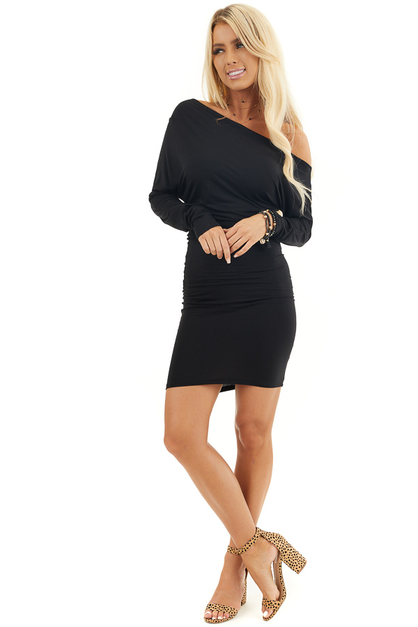 Black Drop Shoulder Long Sleeve Dress with Side Ruching front full body