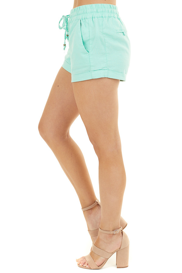 Mint Mid Rise Smocked Shorts with Pockets and Drawstring side view