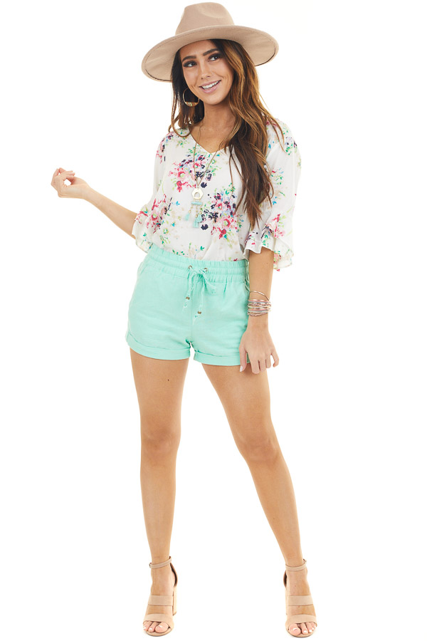 Mint Mid Rise Smocked Shorts with Pockets and Drawstring front full body