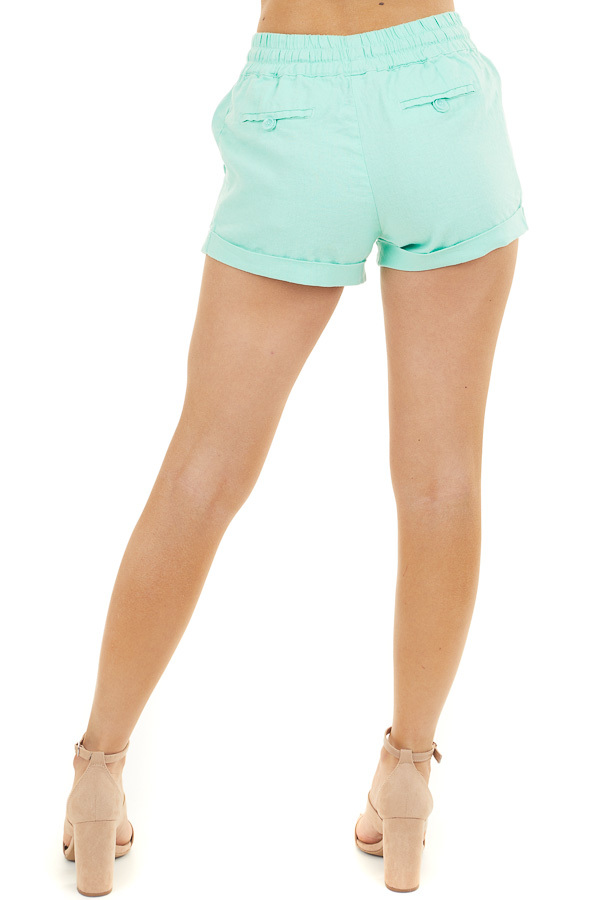 Mint Mid Rise Smocked Shorts with Pockets and Drawstring back view