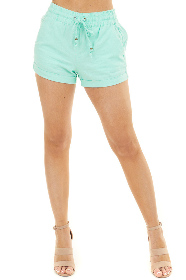 Mint Mid Rise Smocked Shorts with Pockets and Drawstring front view