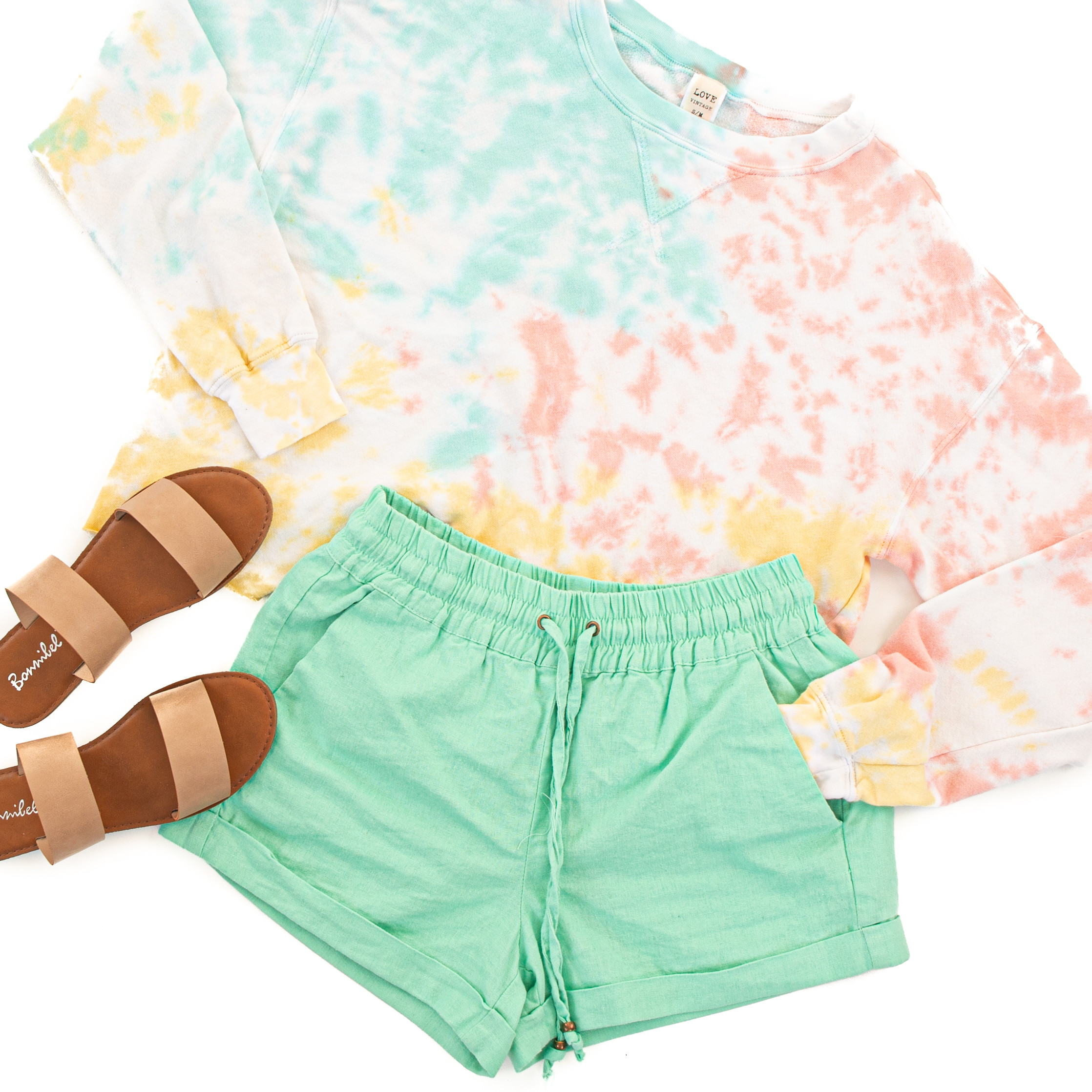 Mint Mid Rise Smocked Shorts with Pockets and Drawstring