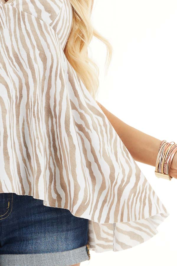 White and Latte Zebra Print Sleeveless Top with Flare Bottom detail