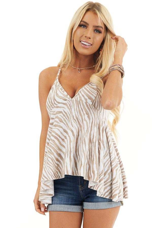 White and Latte Zebra Print Sleeveless Top with Flare Bottom front close up