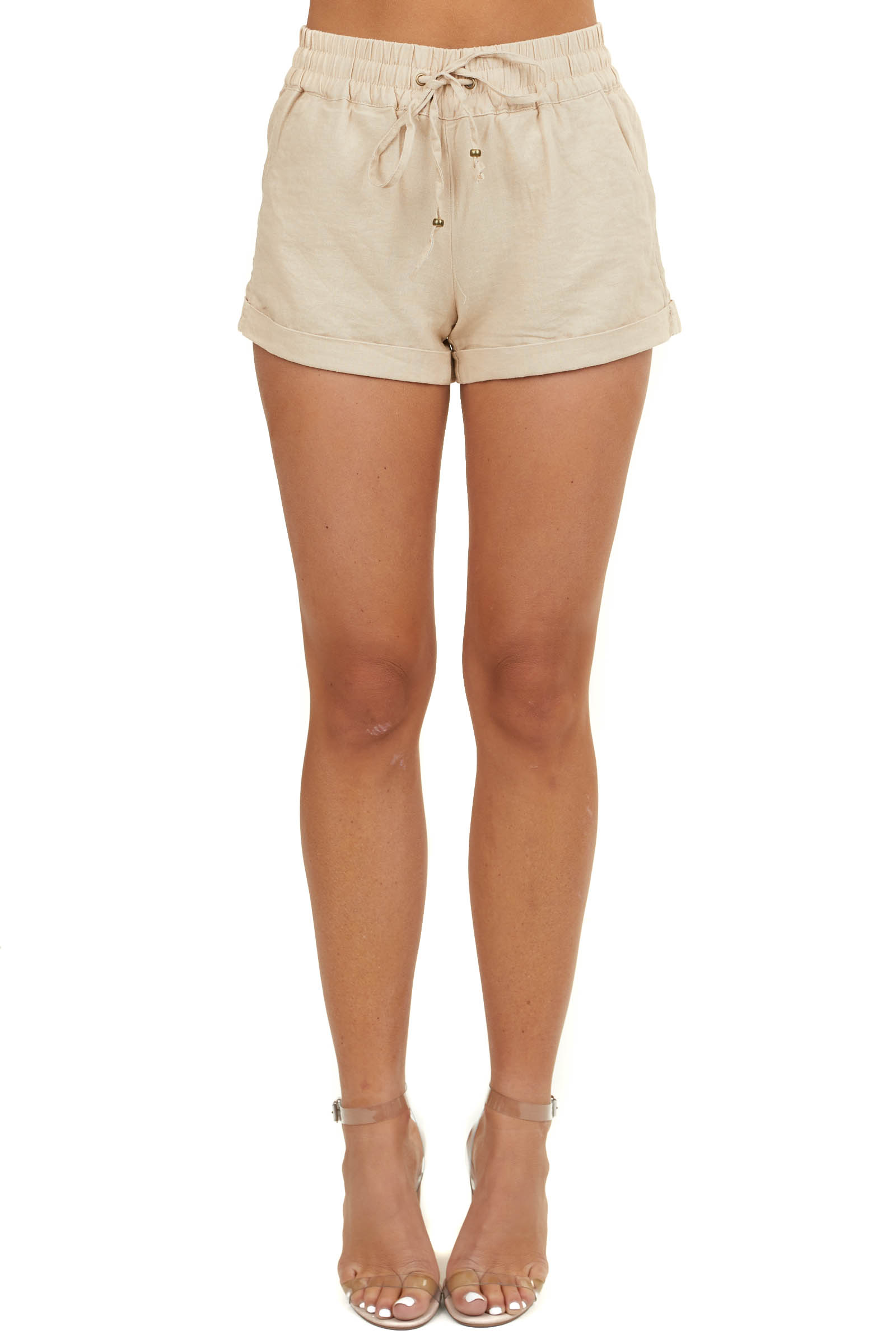 Beige Mid Rise Smocked Shorts with Pockets and Drawstring