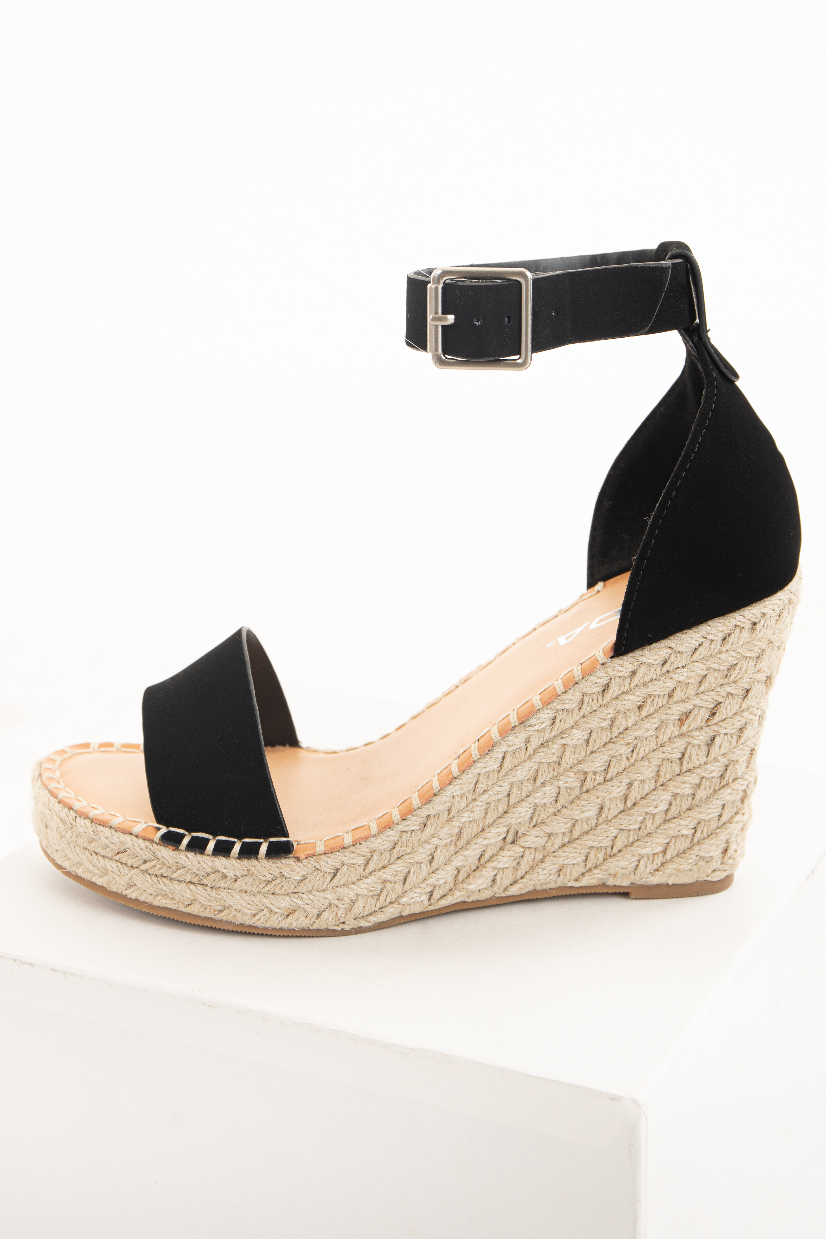Matte Black Espadrille Wedge Sandals with Buckle