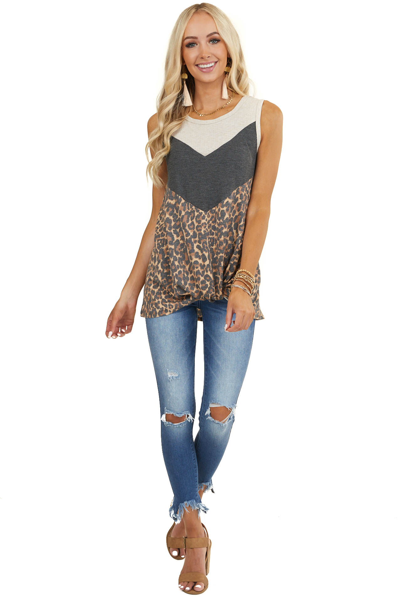 Oatmeal Charcoal and Leopard Print Chevron Striped Tank Top