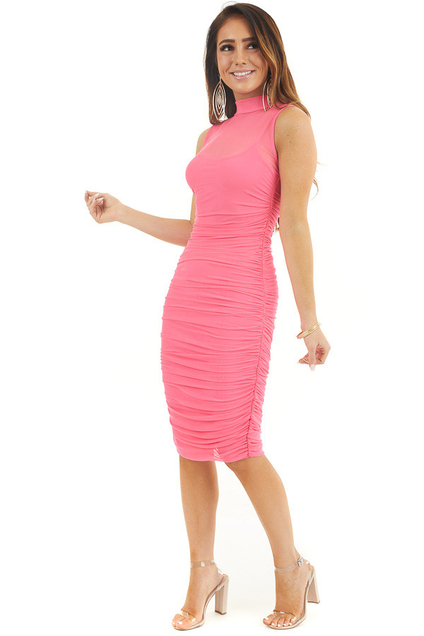 Hot Pink Sleeveless Mock Neck Mesh Dress with Side Ruching front full body