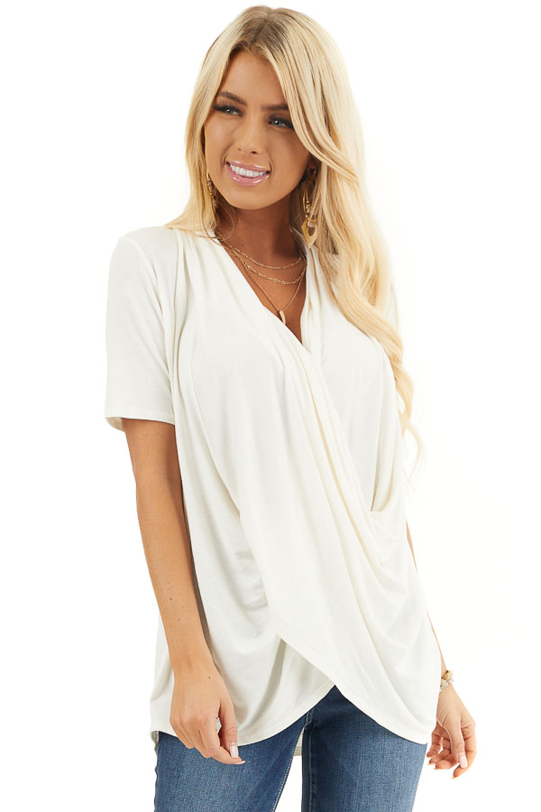 Ivory Super Soft Short Sleeve Knit Top with Drape Front front close up