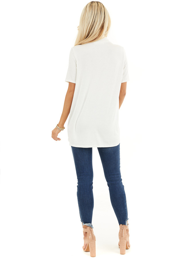 Ivory Super Soft Short Sleeve Knit Top with Drape Front back full body