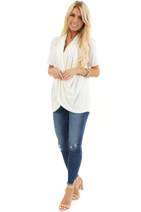 Ivory Super Soft Short Sleeve Knit Top with Drape Front front full body