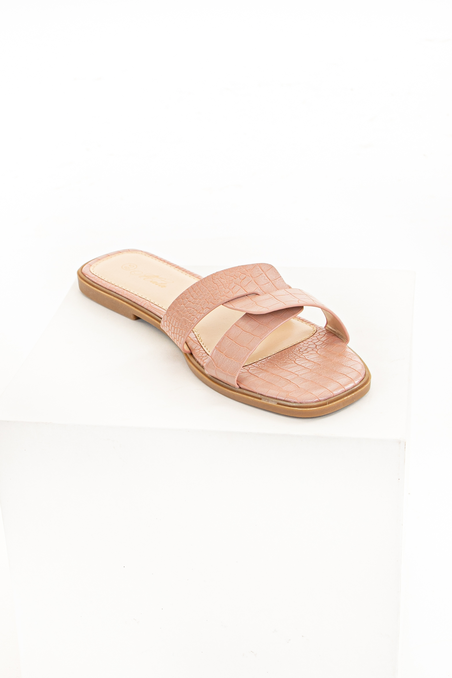 Blush Slip On Sandals with Reptile Texture and Open Toe