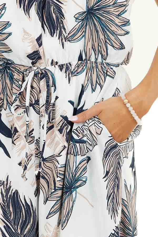 Off White Tropical Print Strapless Jumpsuit with Pockets