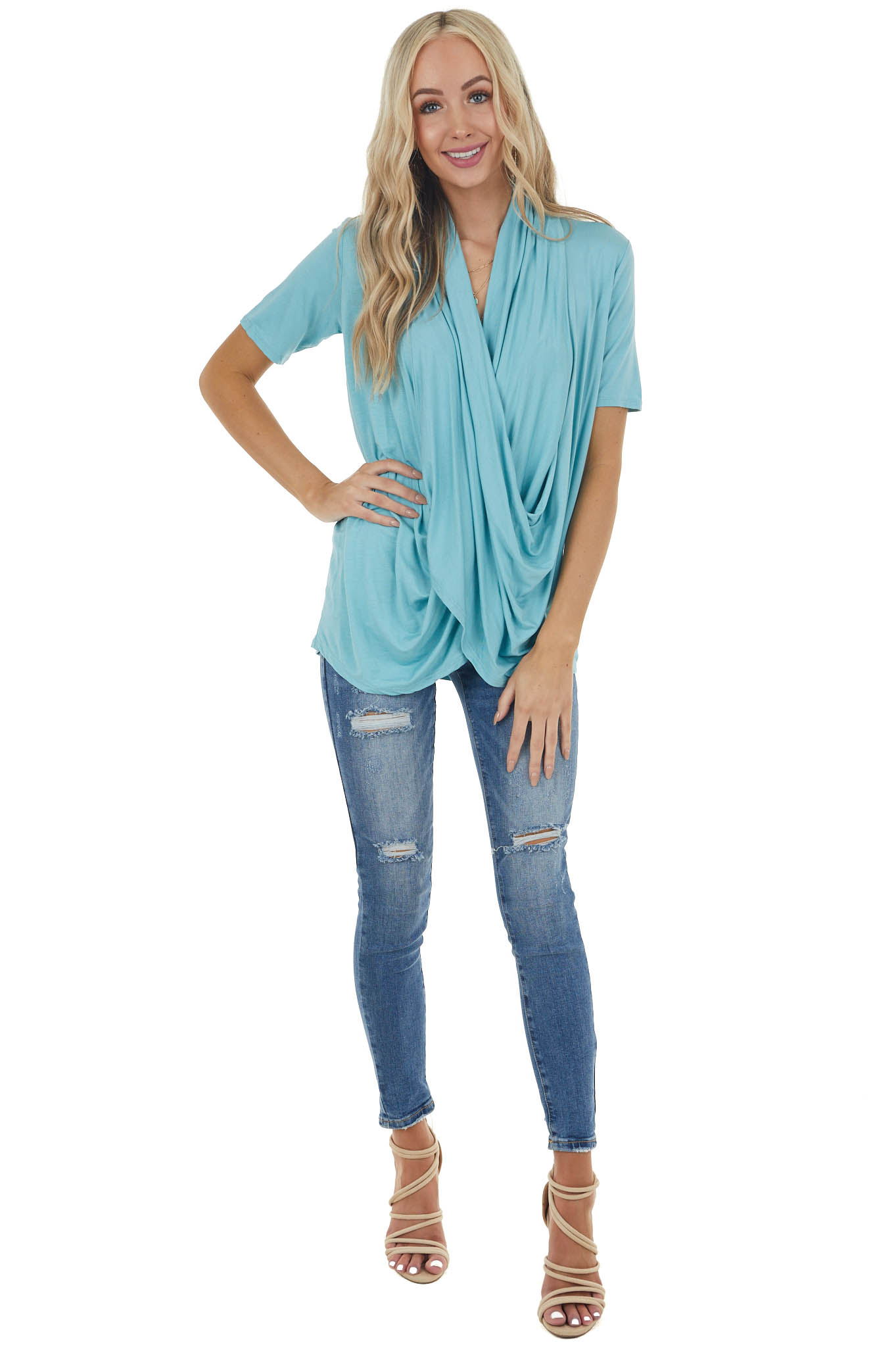 Teal Super Soft Short Sleeve Knit Top with Drape Front