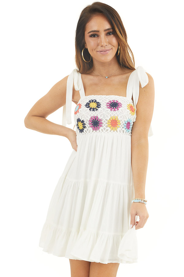 White Sleeveless Short Dress with Floral Crochet Bust front close up