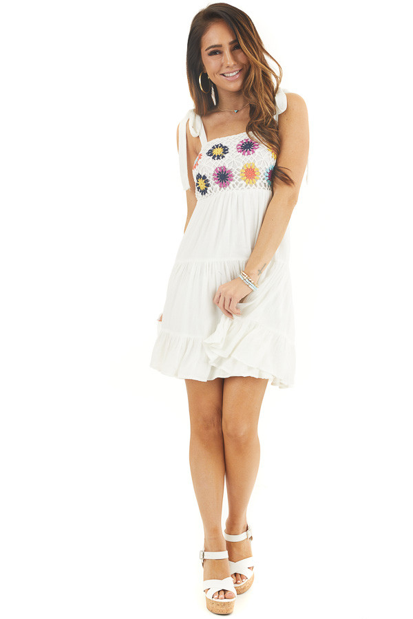 White Sleeveless Short Dress with Floral Crochet Bust front full body