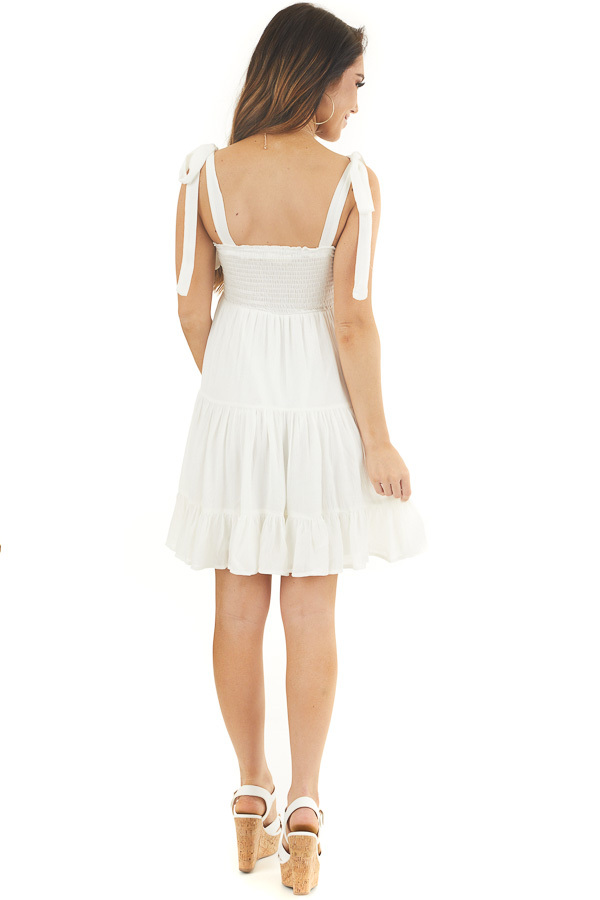 White Sleeveless Short Dress with Floral Crochet Bust back full body