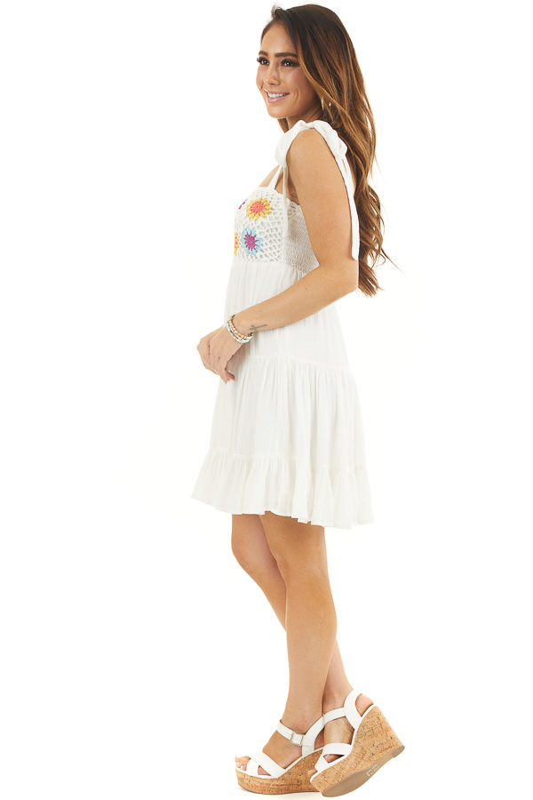 White Sleeveless Short Dress with Floral Crochet Bust side full body
