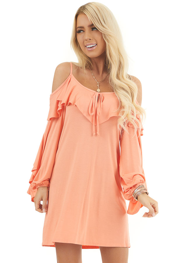 Apricot Cold Shoulder Mini Dress with Overlay and Tie Detail front close up