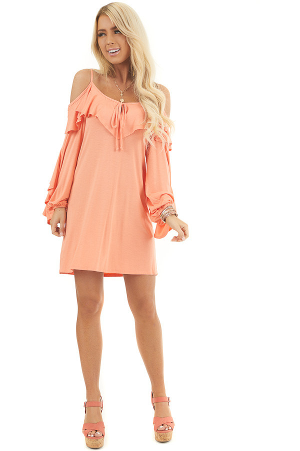 Apricot Cold Shoulder Mini Dress with Overlay and Tie Detail front full body