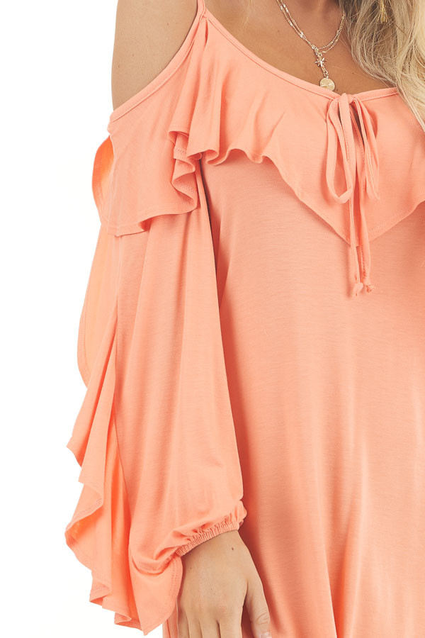 Apricot Cold Shoulder Mini Dress with Overlay and Tie Detail detail