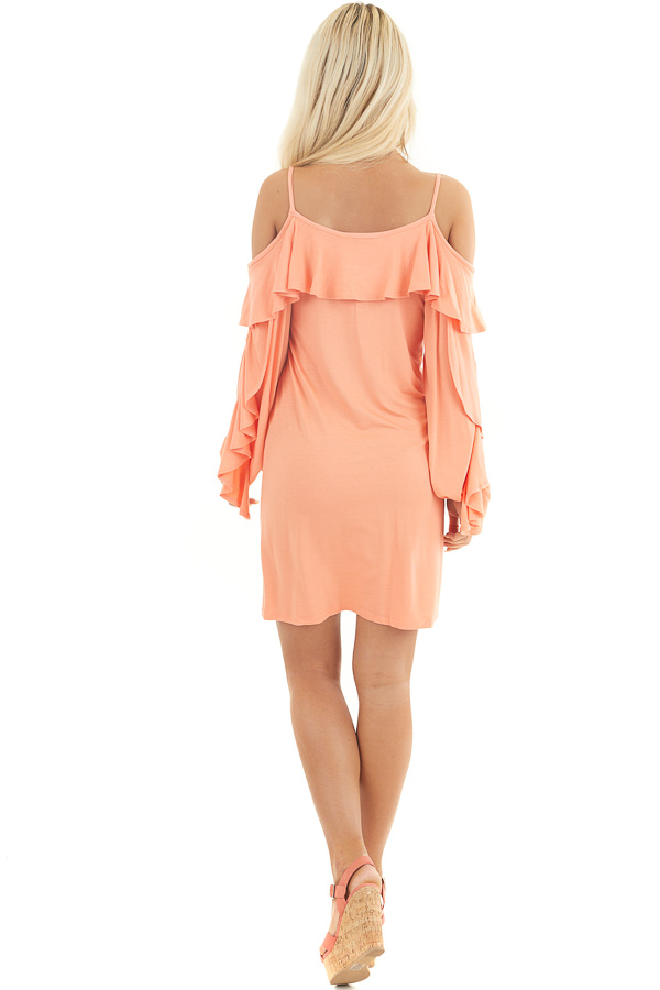 Apricot Cold Shoulder Mini Dress with Overlay and Tie Detail back full body