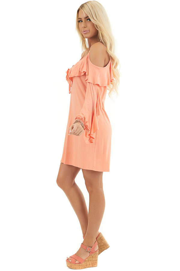 Apricot Cold Shoulder Mini Dress with Overlay and Tie Detail side full body