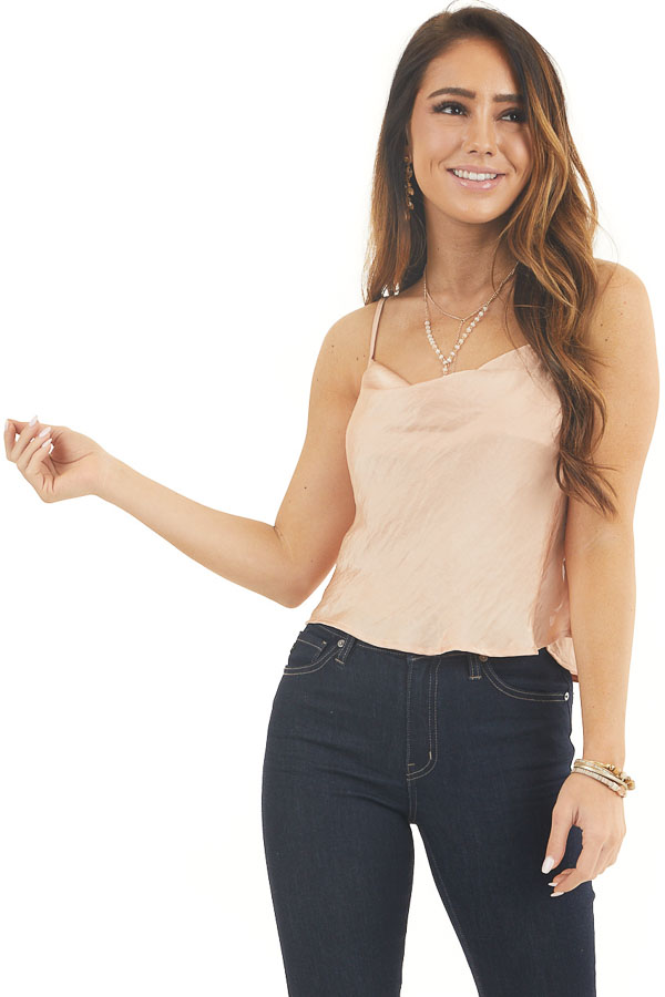 Apricot Satin Camisole Top with Open Back and Tie Detail front close up