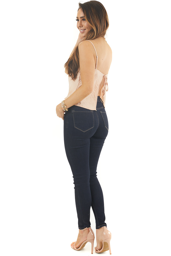 Apricot Satin Camisole Top with Open Back and Tie Detail side full body