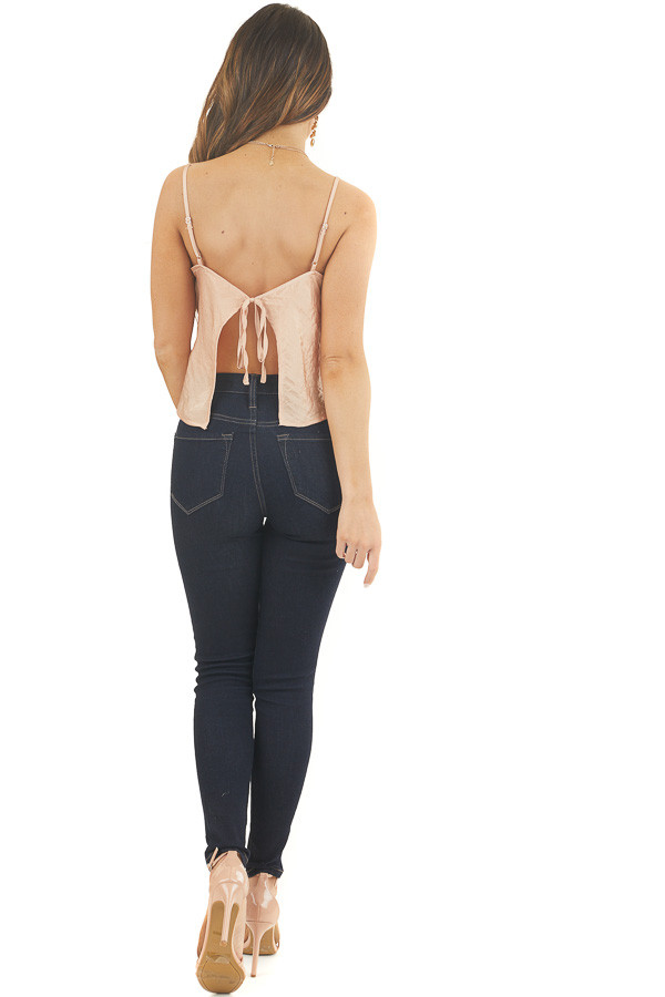 Apricot Satin Camisole Top with Open Back and Tie Detail back full body