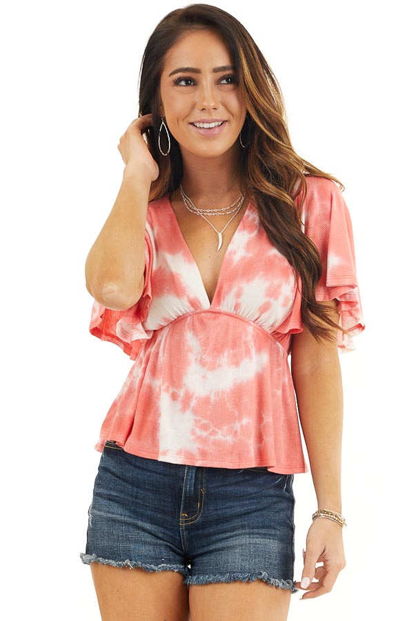 Coral Tie Dye Short Sleeve V Neck Babydoll Knit Top front close up