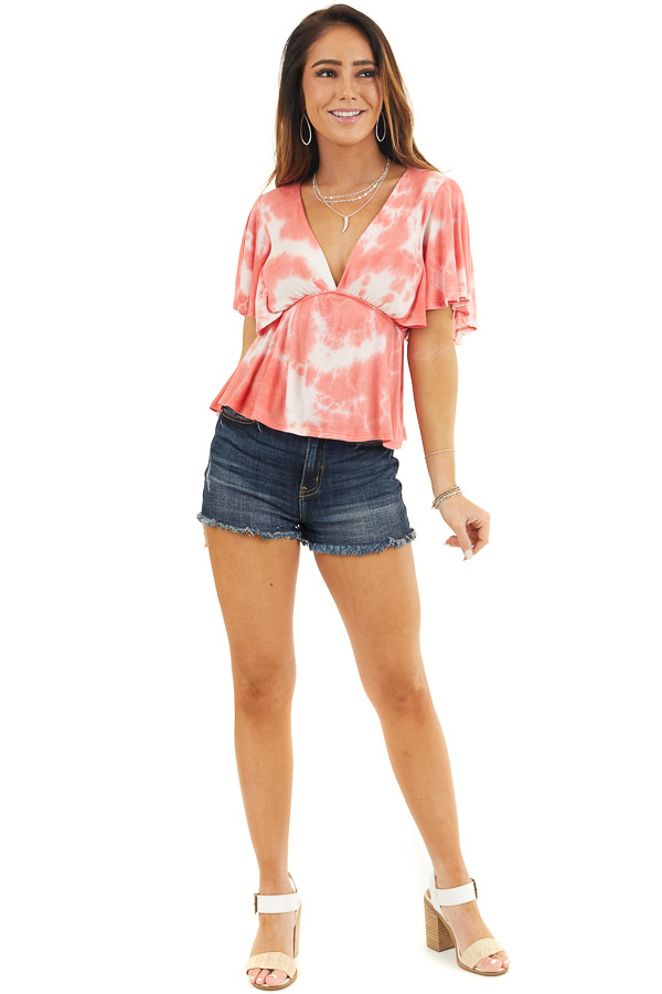 Coral Tie Dye Short Sleeve V Neck Babydoll Knit Top front full body