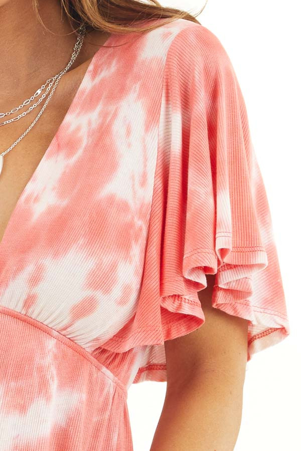 Coral Tie Dye Short Sleeve V Neck Babydoll Knit Top detail