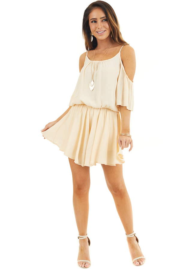 Champagne Cold Shoulder Flowy Romper with Elastic Waistline front full body