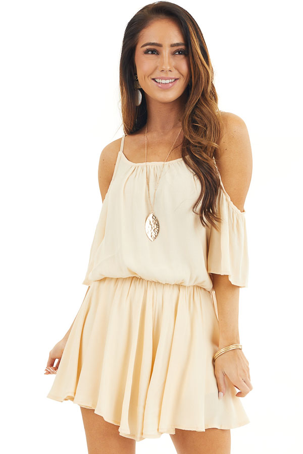 Champagne Cold Shoulder Flowy Romper with Elastic Waistline front close up