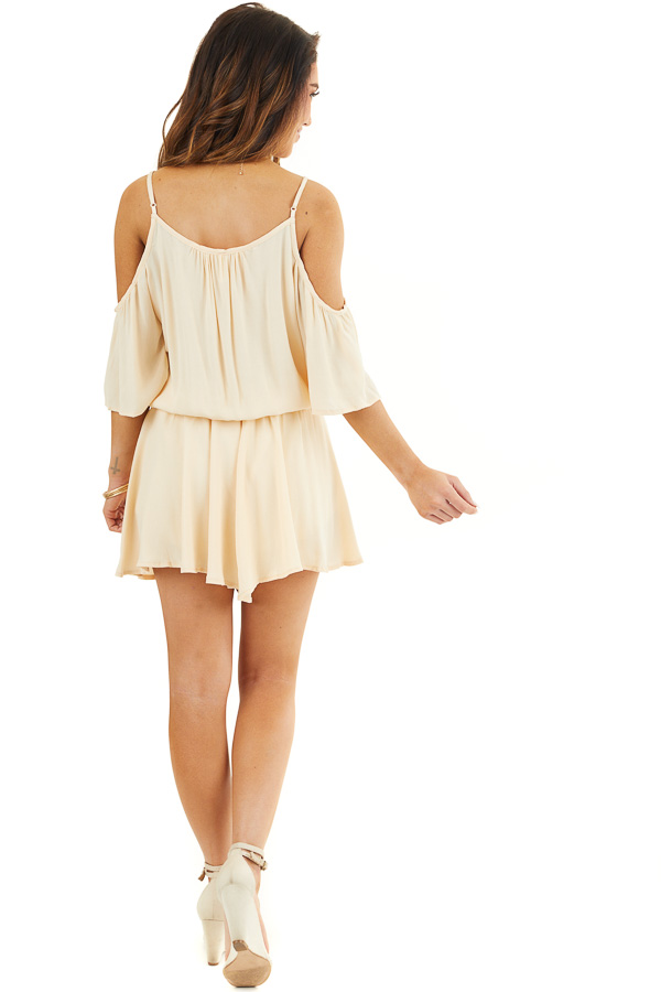 Champagne Cold Shoulder Flowy Romper with Elastic Waistline back full body