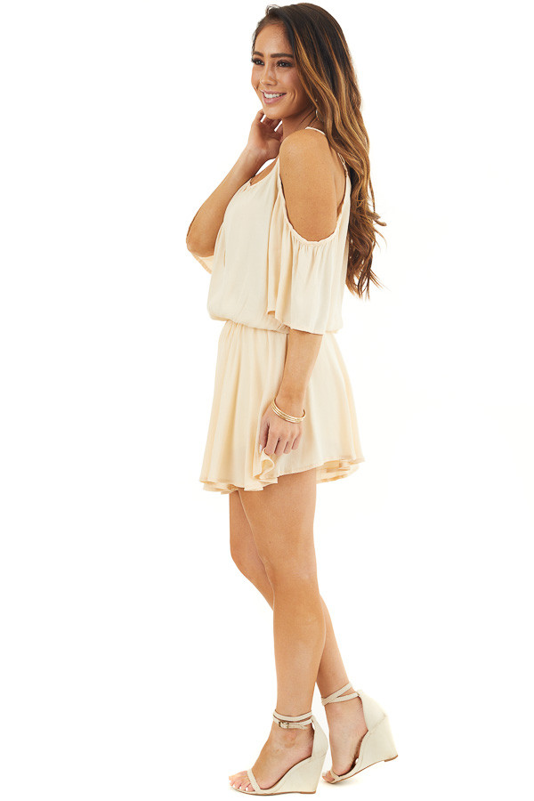 Champagne Cold Shoulder Flowy Romper with Elastic Waistline side full body