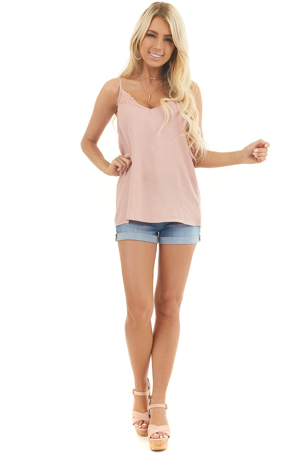 Dusty Rose Tank Top with Crochet Lace Details and V Neckline front full body