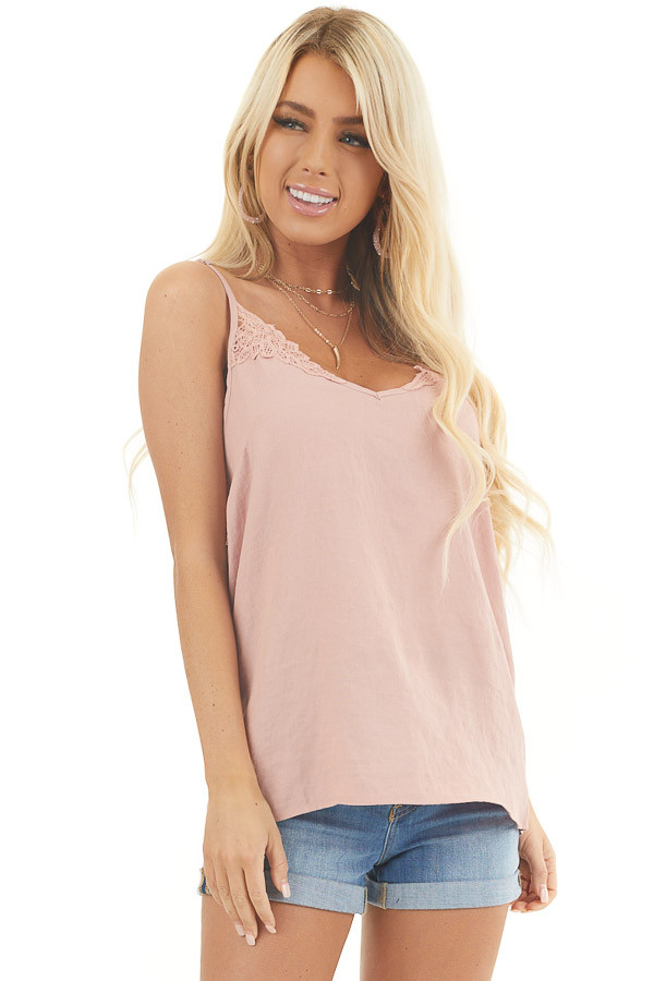 Dusty Rose Tank Top with Crochet Lace Details and V Neckline front close up