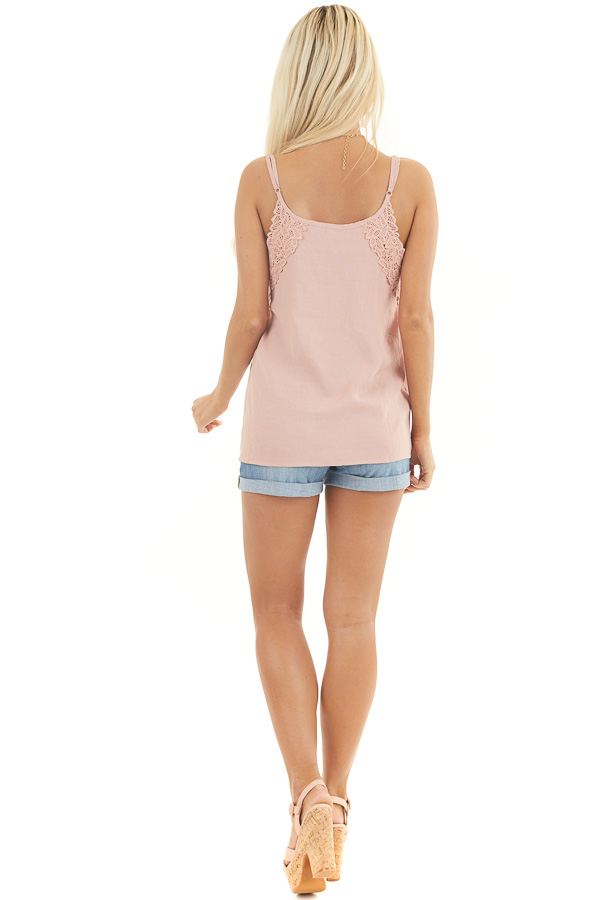 Dusty Rose Tank Top with Crochet Lace Details and V Neckline back full body