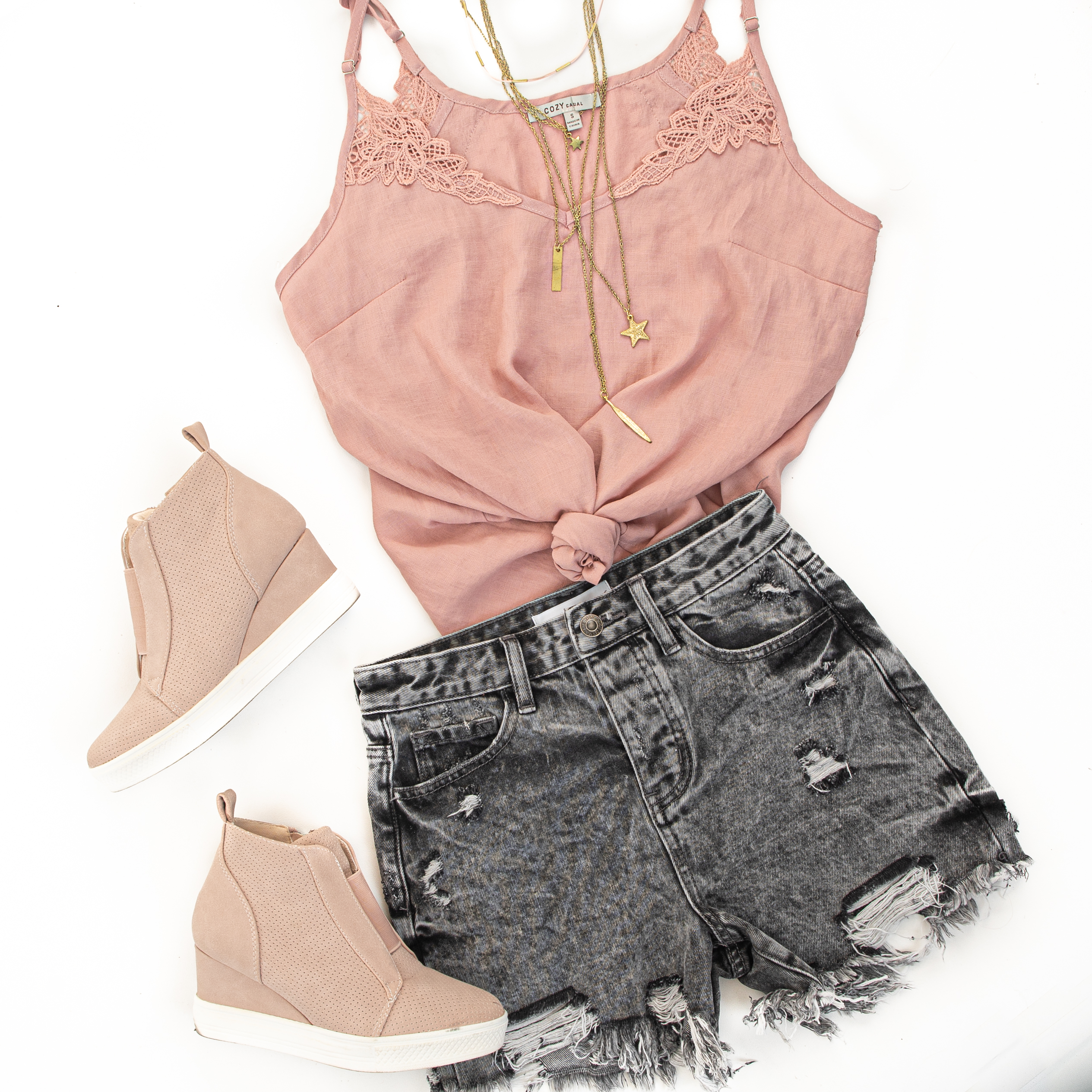 Dusty Rose Tank Top with Crochet Lace Details and V Neckline