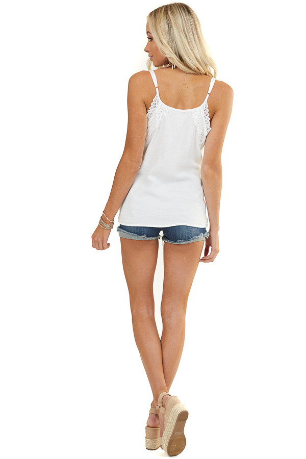 Off White Tank Top with Crochet Lace Details and V Neckline
