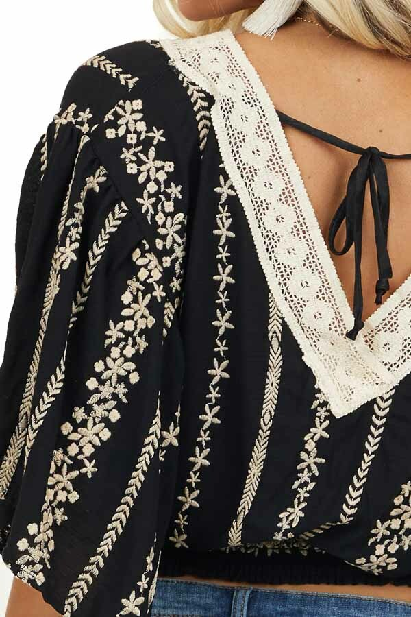 Black and Beige Floral Embroidered Top with Lace Neckline