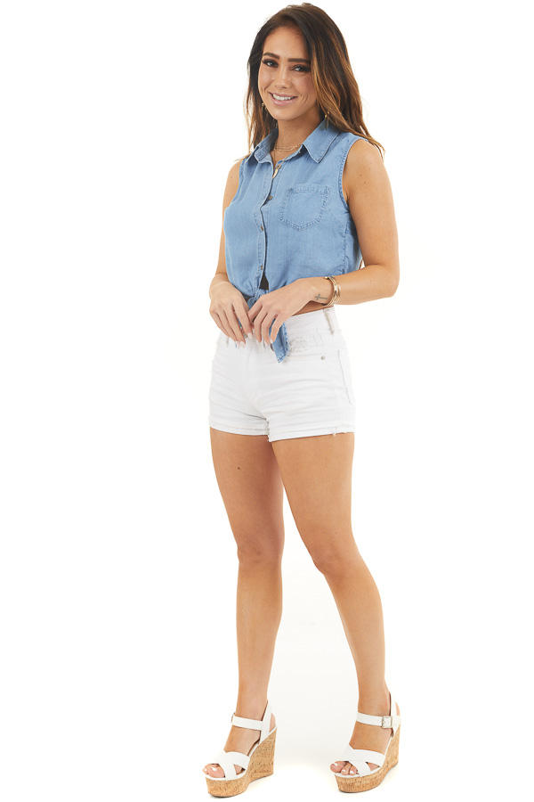 Denim Blue Sleeveless Chambray Button Up Crop Top with Tie front full body