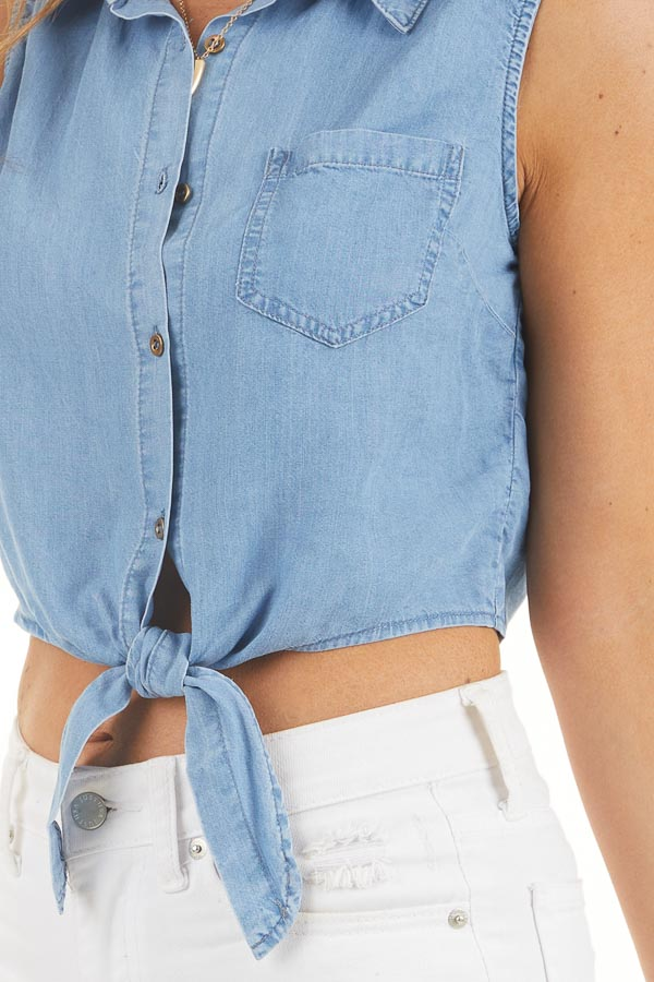 Denim Blue Sleeveless Chambray Button Up Crop Top with Tie detail