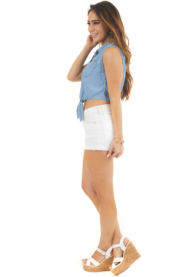 Denim Blue Sleeveless Chambray Button Up Crop Top with Tie side full body
